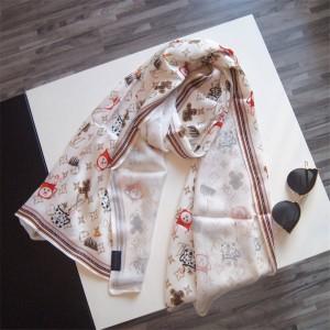 路易威登lv美国官网女士围巾双层真丝欧洲贸易订单图腾印花披肩丝巾