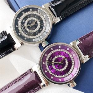 Louis Vuitton/路易威登广州lv批发女表漆皮表带镶嵌水晶经典石英腕表