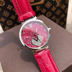 Louis Vuitton lv香港官方网站女士手表新款镶钻鳄鱼纹真皮表带石英腕表