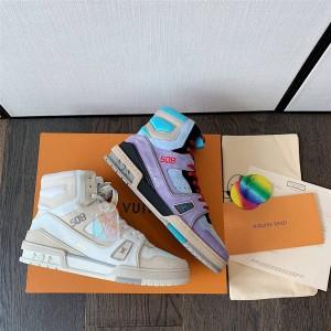 路易威登北京lv专卖店新款情侣款男女士TRAINER 高帮运动鞋1A7P25