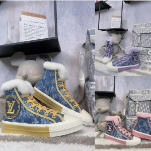 路易威登lv官方网站女士羊毛口牛仔布STELLAR 高帮运动鞋板鞋