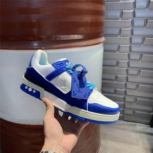 路易威登香港lv官网新款拼色真皮男士TRAINER 运动鞋1A813N