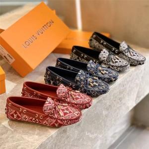路易威登官网lv代购1854系列GLORIA 平底乐福鞋豆豆鞋1A8VX8/1A8VW8