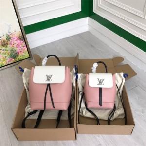 Louis Vuitton LV官网中文版女士背包拼色牛皮LOCKME 迷你双肩包M53195