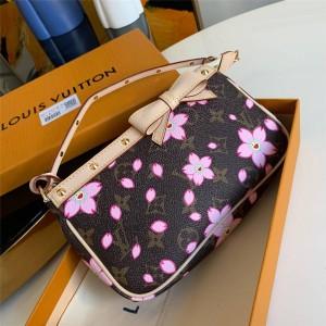 Louis Vuitton lv官网女包中古丝印村上隆樱花蝴蝶结麻将包M67760