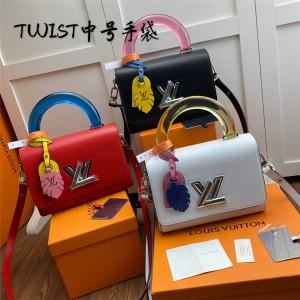 Louis Vuitton lv中国代工厂在哪女包新款Twist中号手提链条包