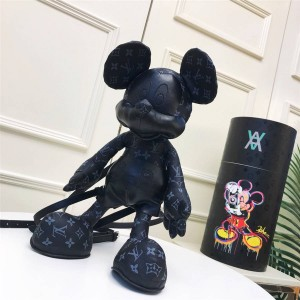 路易威登lv价格新款老花黑皮迪士尼联名款米奇背包玩偶双肩包
