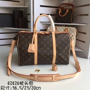 路易威登lv法国官网经典款老花SPEEDY Keepall旅行袋枕头包M42426