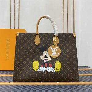 路易威登lv官网中文版女包迪士尼米奇印花Onthego手袋购物袋