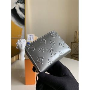 路易威登lv钱包新款压花漆皮银色ZIPPY 拉链零钱包M60067