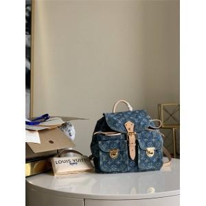 路易威登lv专卖店经典款中古系列丹宁牛仔布女士双肩包M44460