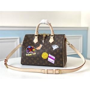 路易威登lv标志图片新款丝印定制SPEEDY 30手袋枕头包My LV World Tour M40391