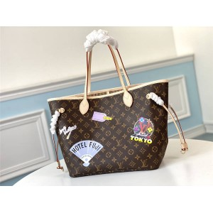 lv图片官网新款丝印NEVERFULL MY LV WORLD TOUR 中号手袋购物袋M40995