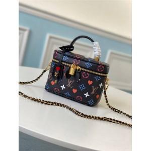 路易威登官网lv限量版新款黑三彩VANITY 小号手袋化妆包M45165