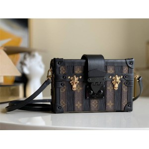 路易威登lv中文官网新款女包拼接条纹真皮PETITE MALLE 手袋盒子包M44199
