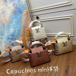 LV官网奢侈品交易蜥蜴纹真皮Capucines Mini迷你手袋M48865