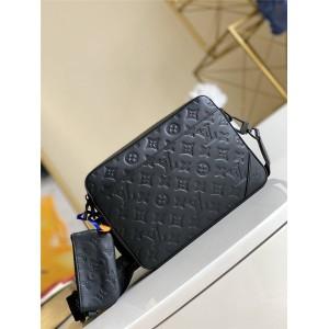 路易威登官网LV奢侈品牌包新款压花真皮男士DUO 邮差包M69827