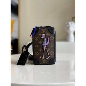 路易威登官网LV奢侈品交易小人狼人刺绣盒子包手机包M80222