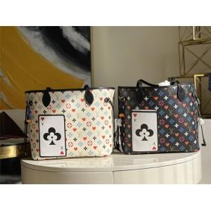 路易威登精仿LV NEVERFULL 中号手袋扑克三彩购物袋M57462/M57483