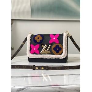 路易威登官网LV品牌女包批发羊毛花卉TWIST 中号手袋M56976
