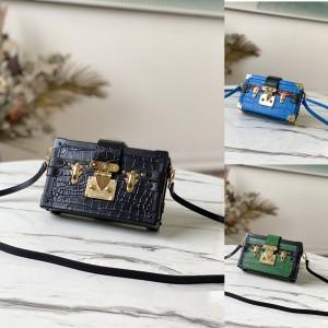 路易威登官网lv图片新款鳄鱼纹PETITE MALLE 手袋盒子包N92049/N93145