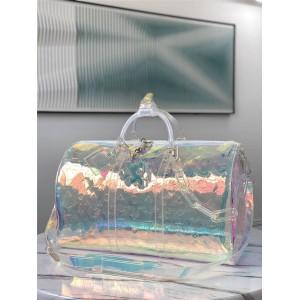 路易威登官网lv包批发keepall 50镭射闪光PVC透明旅行袋M53271