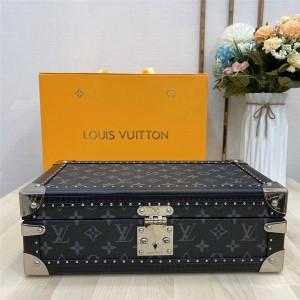 路易威登lv英国官网经典款高端定制Monogram老花黑皮8只装腕表盒手表箱